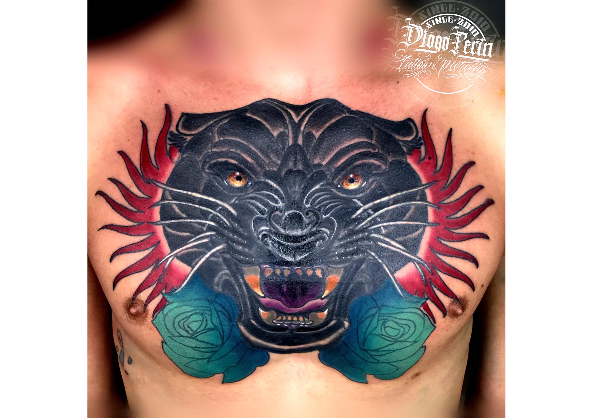 tattoo pantera cover up newschool neotradicional tattoo tatuaje alicante tapar tattoo