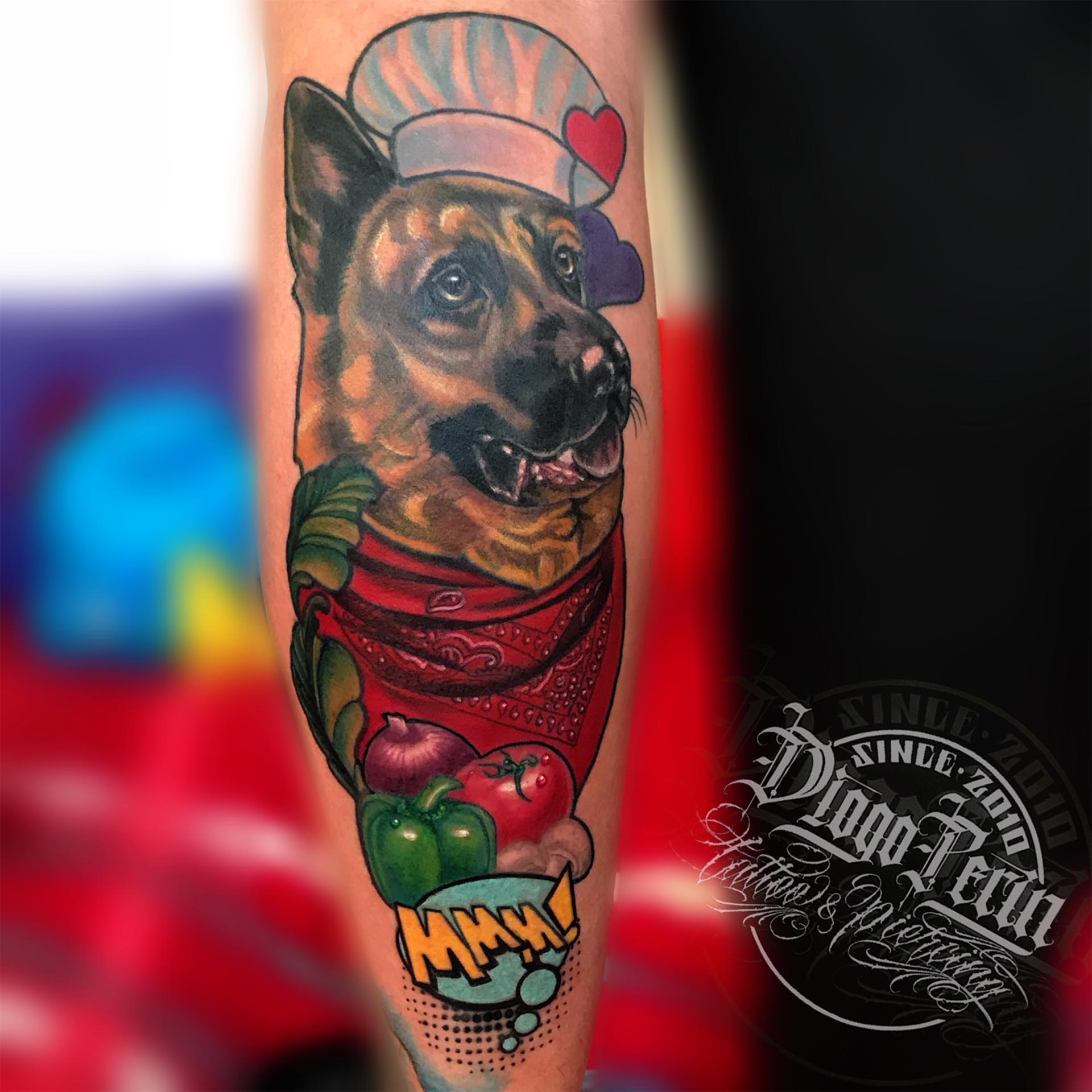 retrato perro tattoo newschool tattoo alicante fullcolor a color mascota tatuaje dog