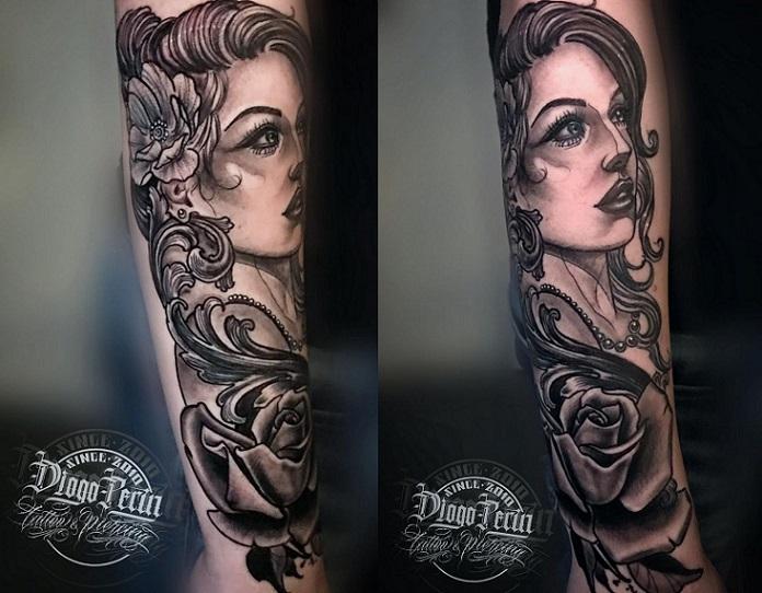 Tatuaje, tattoo, black and grey, santa pola, alicante, tatuaje femenino, tatuaje elegante, realismo